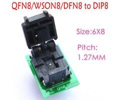QFN8 zu DIP8 Adapter 6x8mm Pitch 1,27mm WSON8 DFN8 MLF8...